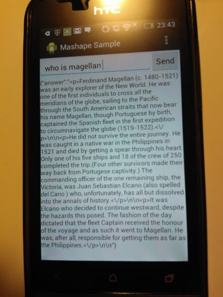 Android App with Question-Answering API on Mashape in action